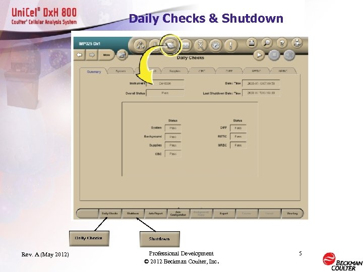 Daily Checks & Shutdown Rev. A (May 2012) Professional Development © 2012 Beckman Coulter,