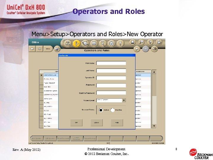 Operators and Roles Menu>Setup>Operators and Roles>New Operator Rev. A (May 2012) Professional Development ©