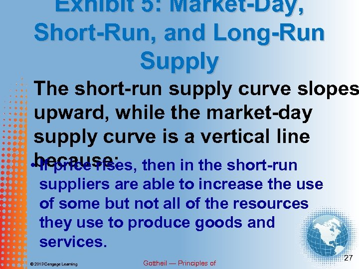 Exhibit 5: Market-Day, Short-Run, and Long-Run Supply The short-run supply curve slopes upward, while