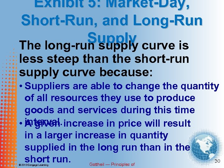 Exhibit 5: Market-Day, Short-Run, and Long-Run Supply curve is The long-run supply less steep