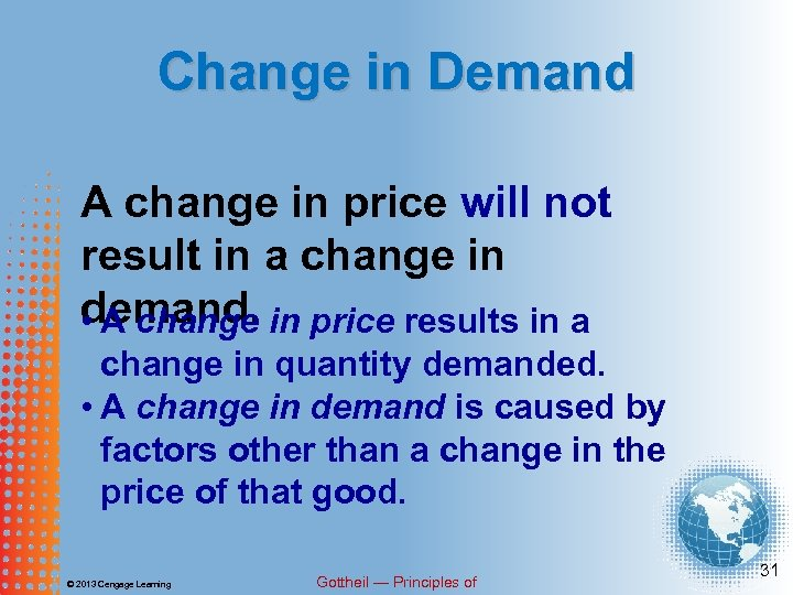 Change in Demand A change in price will not result in a change in