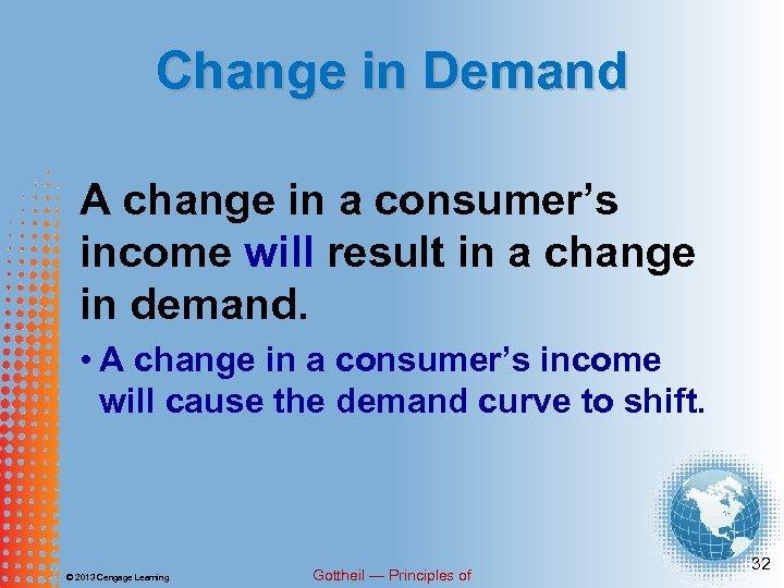 Change in Demand A change in a consumer's income will result in a change