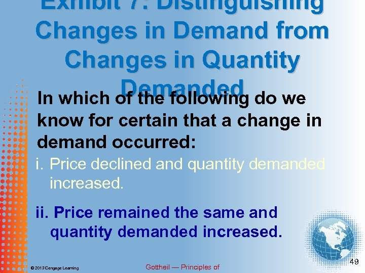 Exhibit 7: Distinguishing Changes in Demand from Changes in Quantity Demanded do we In