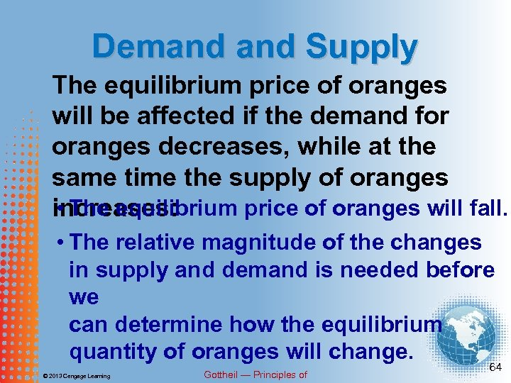 Demand Supply The equilibrium price of oranges will be affected if the demand for