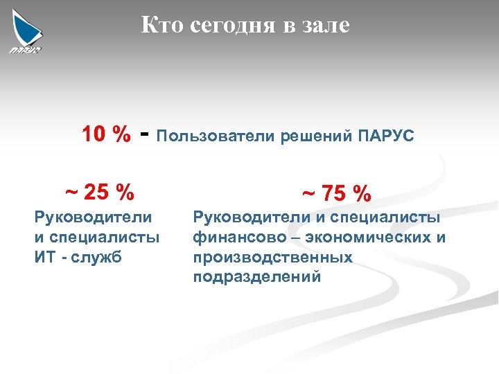 Кто сегодня в зале 10 % - Пользователи решений ПАРУС ~ 25 % Руководители