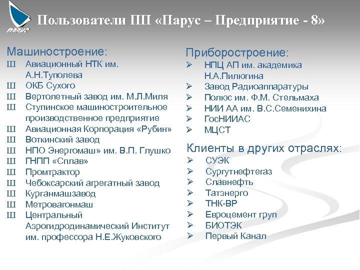 Пользователи ПП «Парус – Предприятие - 8» Машиностроение: Ш Ш Ш Ш Авиационный НТК