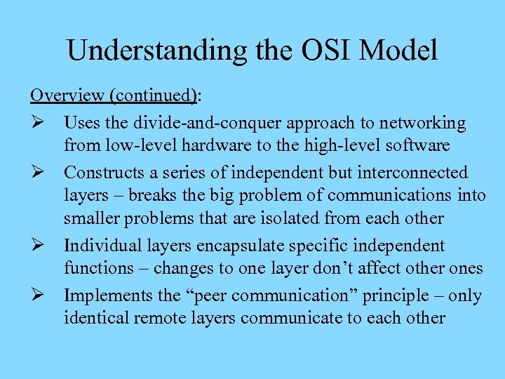 OSI Model and Standards ITNW 1325 Chapter II