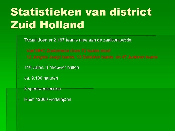 Statistieken van district Zuid Holland • Totaal doen er 2. 197 teams mee aan