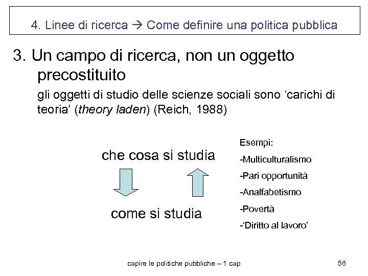 4. Linee di ricerca Come definire una politica pubblica 3. Un campo di ricerca,