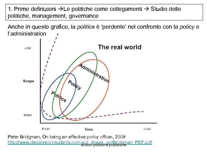 1. Prime definizioni Le politiche come collegamenti Studio delle politiche, management, governance Anche in