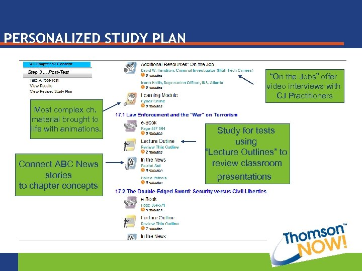 """PERSONALIZED STUDY PLAN """"On the Jobs"""" offer video interviews with CJ Practitioners Most complex"""