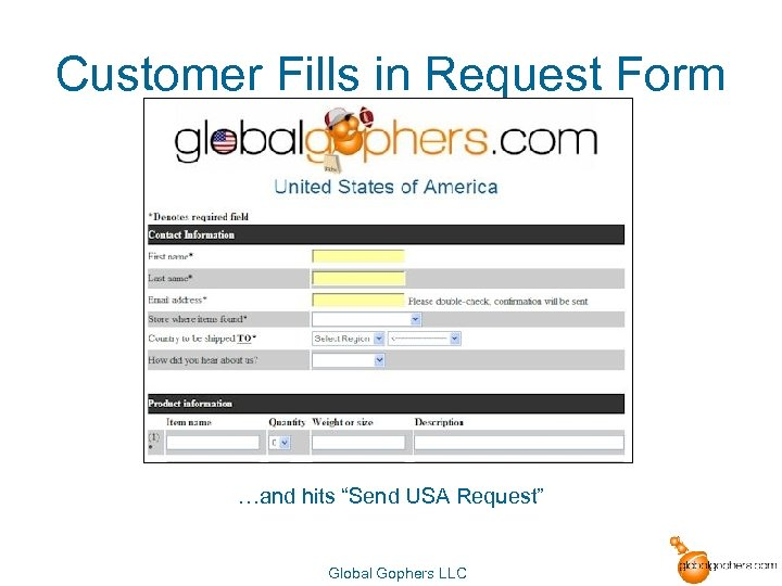 """Customer Fills in Request Form …and hits """"Send USA Request"""" Global Gophers LLC"""