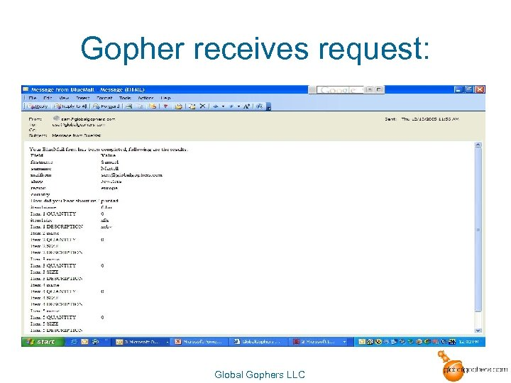Gopher receives request: Global Gophers LLC
