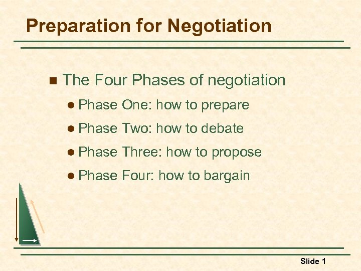 Preparation for Negotiation n The Four Phases of negotiation l Phase One: how to