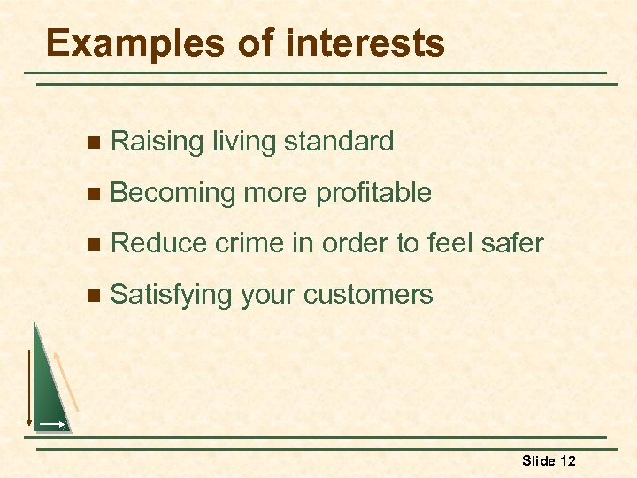 Examples of interests n Raising living standard n Becoming more profitable n Reduce crime