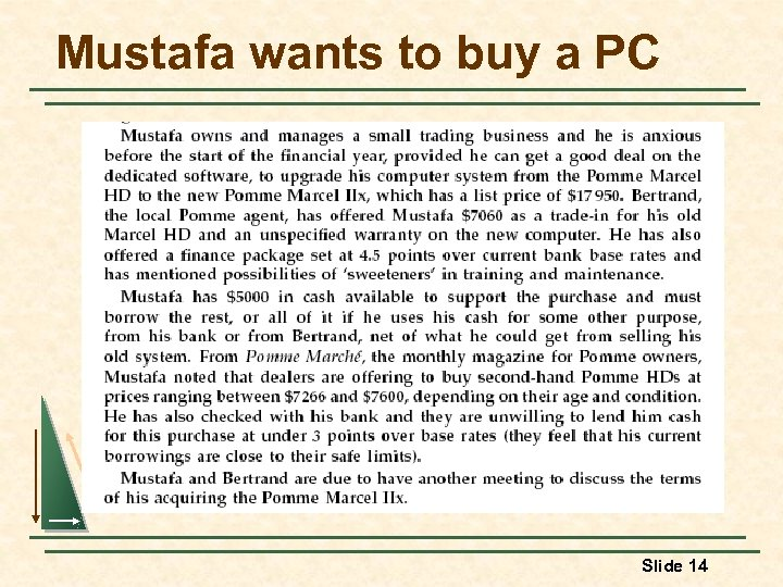 Mustafa wants to buy a PC Slide 14