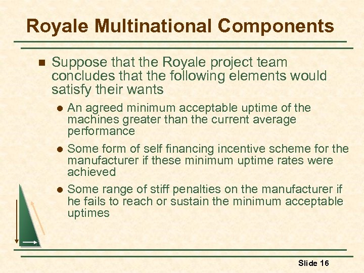 Royale Multinational Components n Suppose that the Royale project team concludes that the following