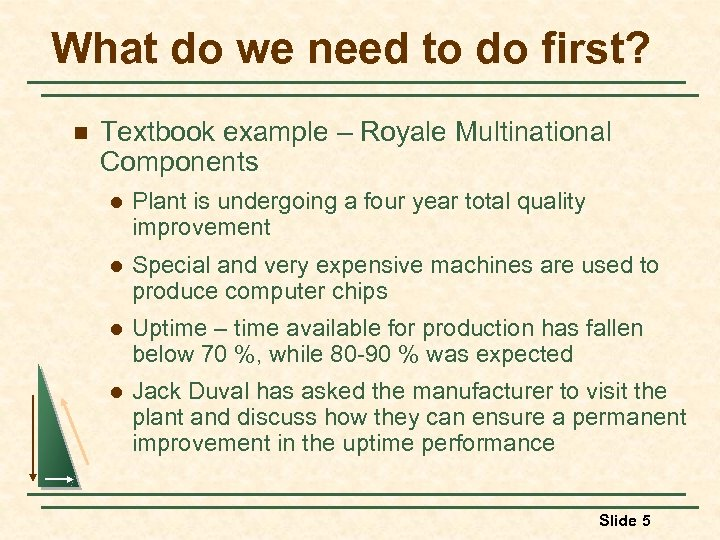 What do we need to do first? n Textbook example – Royale Multinational Components