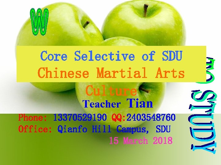 Core Selective of SDU Chinese Martial Arts Culture Teacher Tian Phone: 13370529190 QQ: 2403548760