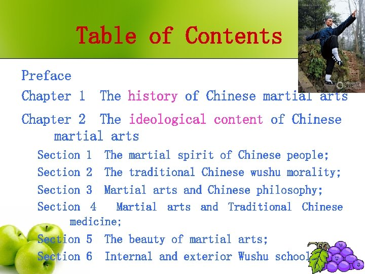 Table of Contents Preface Chapter 1 The history of Chinese martial arts Chapter 2