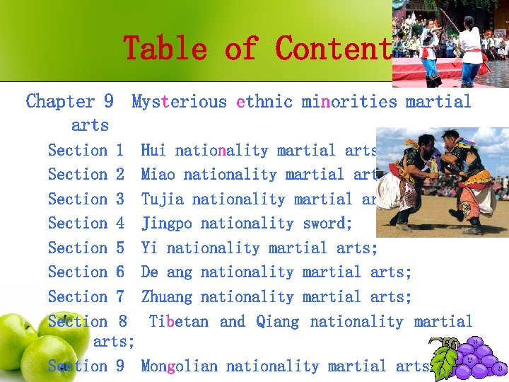 Table of Contents Chapter 9 Mysterious ethnic minorities martial arts Section 1 Section 2