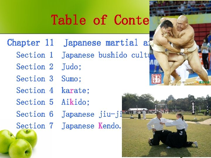 Table of Contents Chapter 11 Japanese martial arts; Section Section Japanese bushido culture; Judo;
