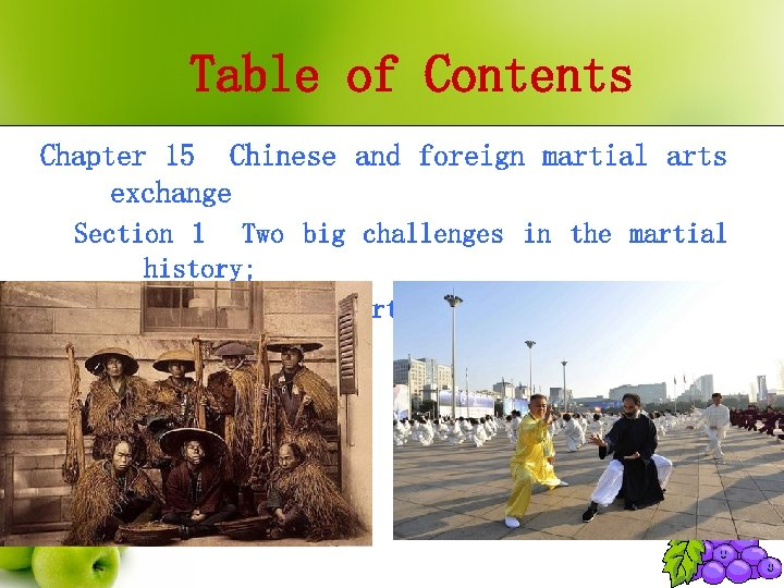Table of Contents Chapter 15 Chinese and foreign martial arts exchange Section 1 Two