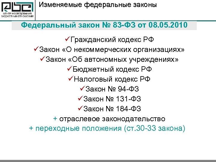 Изменяемые федеральные законы Федеральный закон № 83 -ФЗ от 08. 05. 2010 üГражданский кодекс