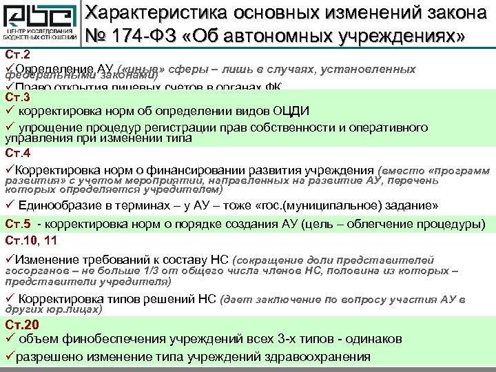 Характеристика основных изменений закона № 174 -ФЗ «Об автономных учреждениях» Ст. 2 üОпределение АУ