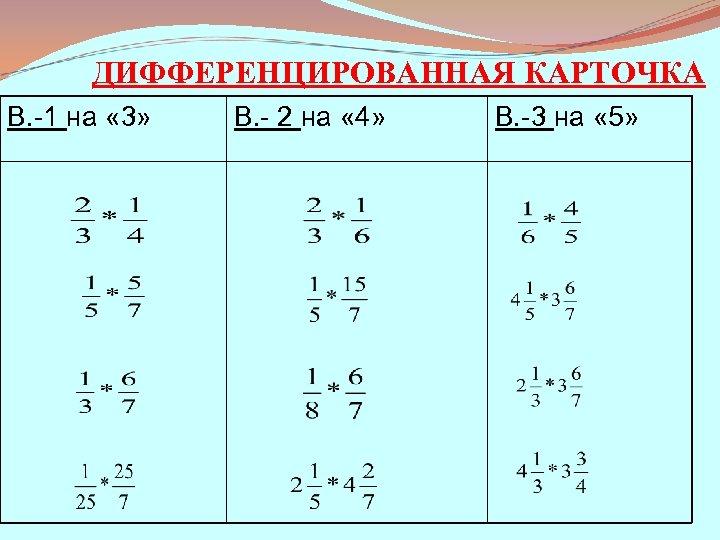 ДИФФЕРЕНЦИРОВАННАЯ КАРТОЧКА В. -1 на « 3» В. - 2 на « 4» В.
