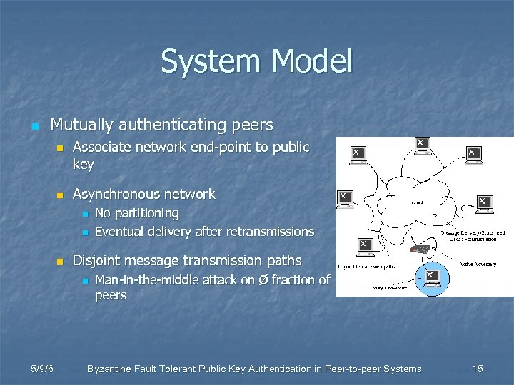 System Model n Mutually authenticating peers n n Associate network end-point to public key