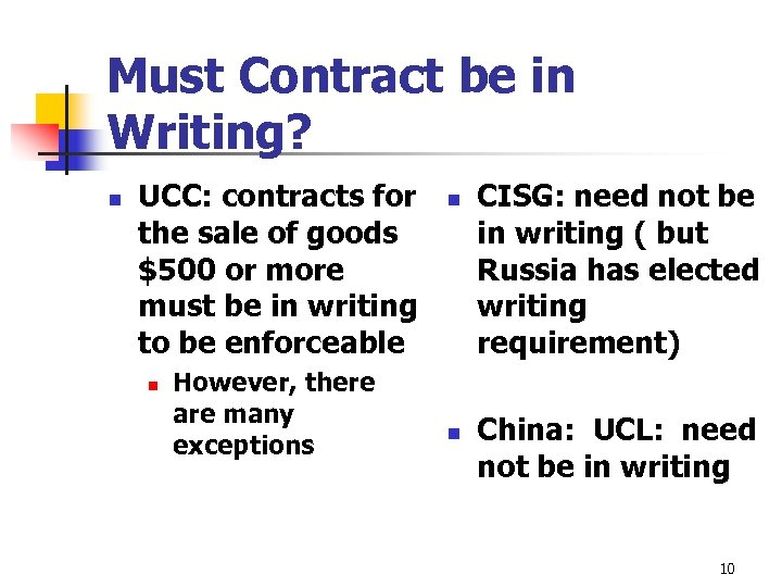 Must Contract be in Writing? n UCC: contracts for the sale of goods $500
