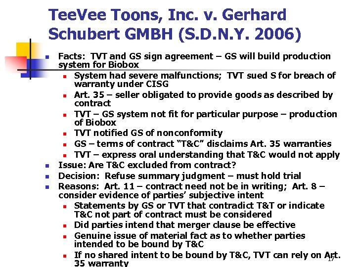Tee. Vee Toons, Inc. v. Gerhard Schubert GMBH (S. D. N. Y. 2006) n
