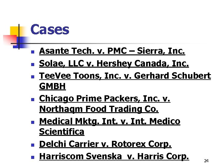 Cases n n n n Asante Tech. v. PMC – Sierra, Inc. Solae, LLC
