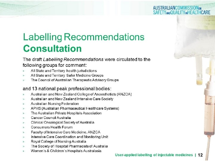 Labelling Recommendations Consultation The draft Labelling Recommendations were circulated to the following groups for