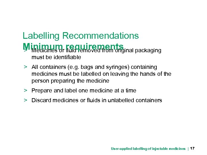 Labelling Recommendations Minimum requirements packaging > Medicines or fluid removed from original must be
