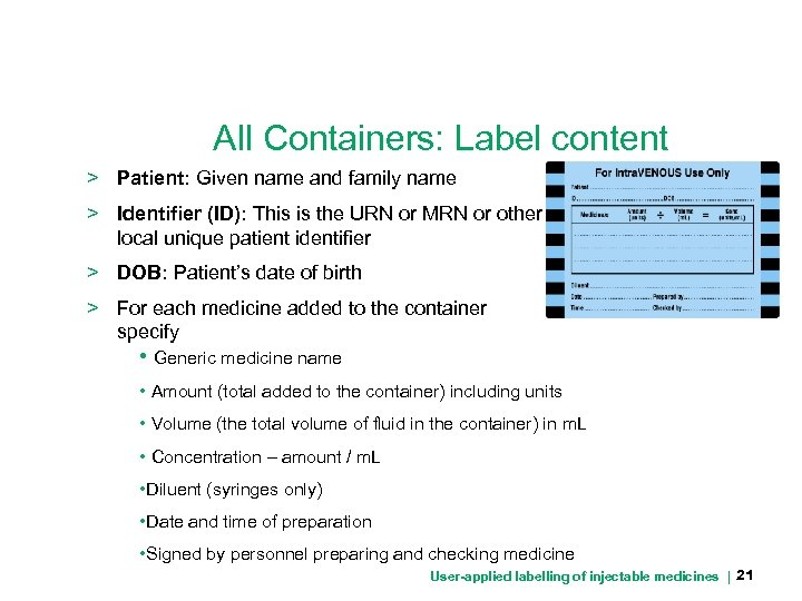 All Containers: Label content > Patient: Given name and family name > Identifier (ID):