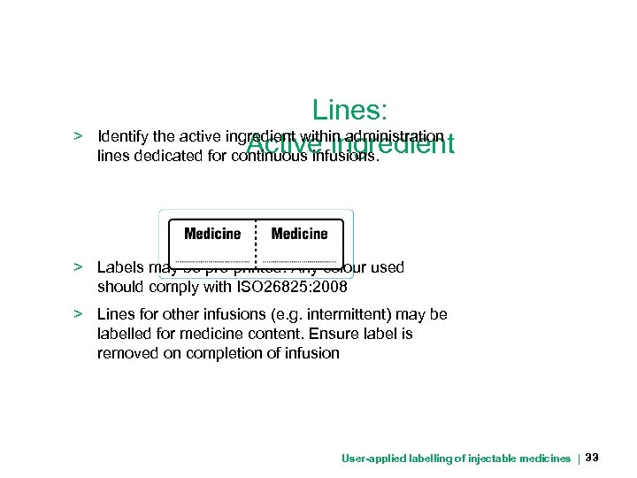 > Lines: Identify the active ingredient within administration Active ingredient lines dedicated for continuous