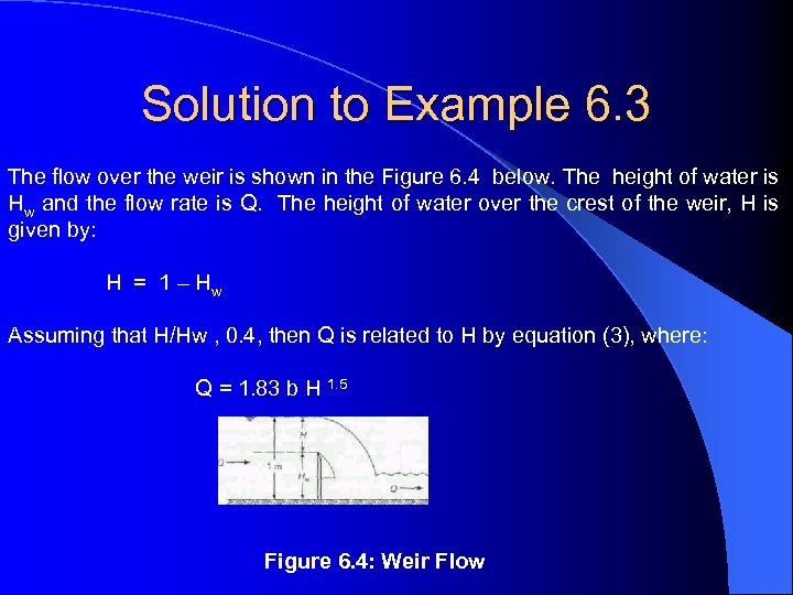 Solution to Example 6. 3 The flow over the weir is shown in the