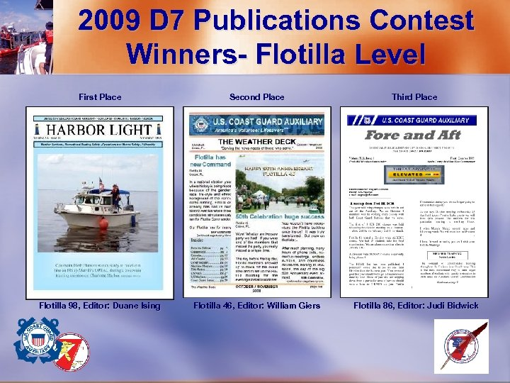2009 D 7 Publications Contest Winners- Flotilla Level First Place Second Place Third Place