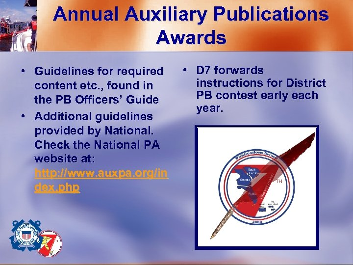 Annual Auxiliary Publications Awards • Guidelines for required content etc. , found in the