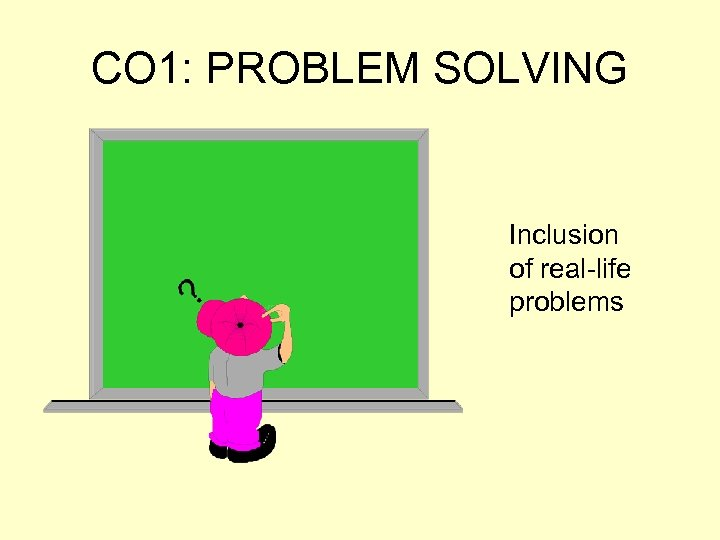 CO 1: PROBLEM SOLVING Inclusion of real-life problems