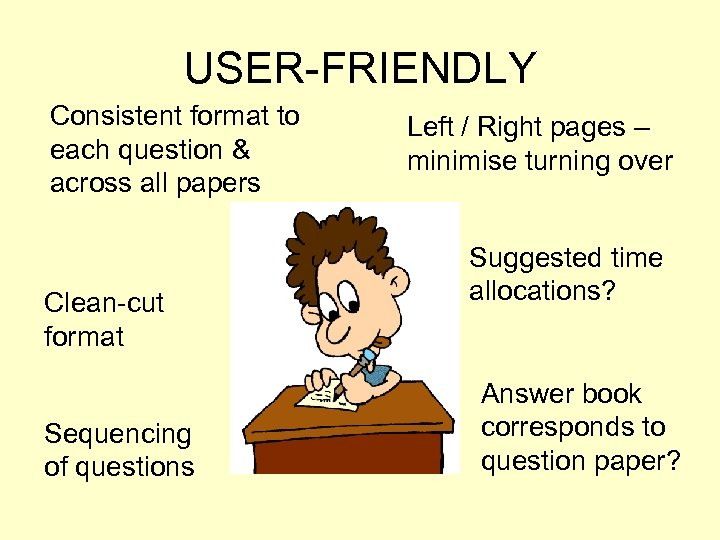 USER-FRIENDLY Consistent format to each question & across all papers Clean-cut format Sequencing of