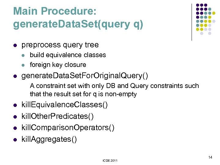 Main Procedure: generate. Data. Set(query q) l preprocess query tree l l l build