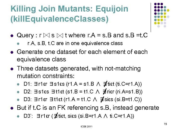 Killing Join Mutants: Equijoin (kill. Equivalence. Classes) l Query : r l l l