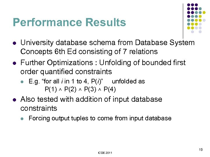 Performance Results l l University database schema from Database System Concepts 6 th Ed