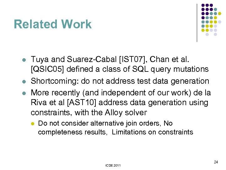 Related Work l l l Tuya and Suarez-Cabal [IST 07], Chan et al. [QSIC