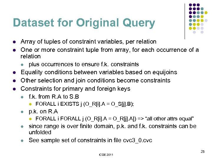 Dataset for Original Query l l l Array of tuples of constraint variables, per