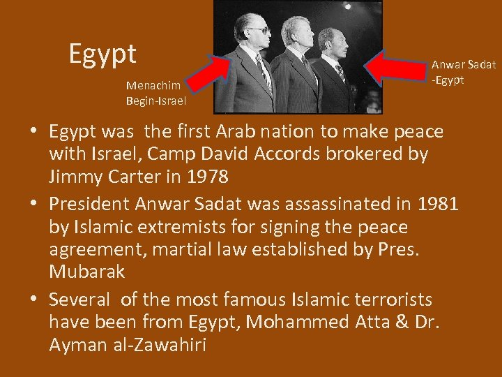 Egypt Menachim Begin-Israel Anwar Sadat -Egypt • Egypt was the first Arab nation to