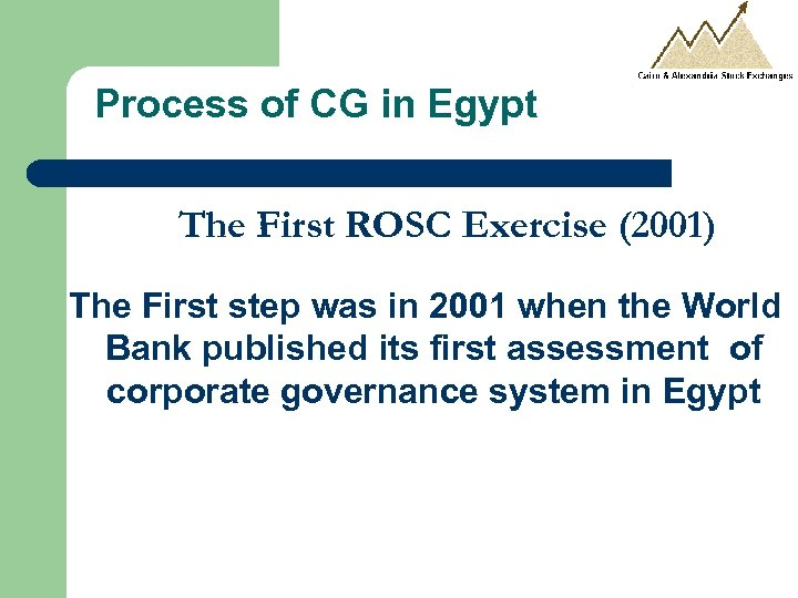 Process of CG in Egypt The First ROSC Exercise (2001) The First step was